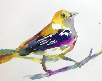 "Original Watercolor Bird Painting, ""On My Way"" by Jessica Buhman 10"" x 8"" Original Bird Painting, Warbler Painting"