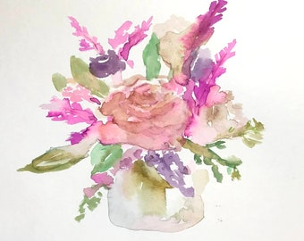 "Watercolor Floral Flowers Painting ""Picked For You"" by Jess Buhman, 12"" x 9"" Watercolor Flowers, Original Floral Art"