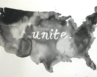 """Watercolor Unite Painting """"Come Together"""" by Jess Buhman, 11"""" x 14"""", United States Painting, Healing Painting, Racial Injustice Art"""