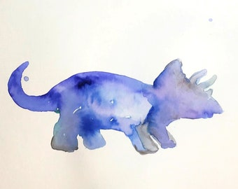 "Original Watercolor Triceratops ""Triceratops"" by Jess Buhman, Watercolor Dinosaur, Triceratops Painting, Dinosaur Art, Kid's Room Decor"
