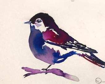 "Original Watercolor Bird Painting, ""Reggie"" by Jessica Buhman 10"" x 8"" Original Bird Painting, Bird Painting"