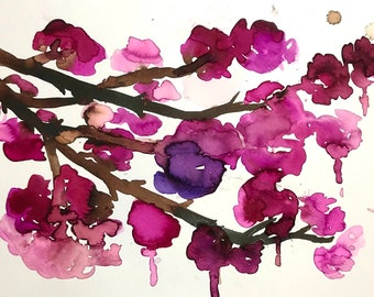 "Watercolor Floral Flowers Painting ""Pretty Little Cherry Blossoms"" by Jess Buhman, 14"" x 11"""