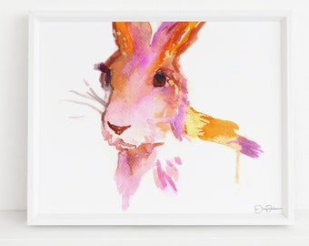 "Rabbit Watercolor Print  | ""Rabbit"" by Jess Buhman, Multiple Sizes, Select Your Size, Animal Painting, Nursery Art, Watercolor Bunny"