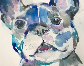"Original Watercolor ""French Bulldog"" by Jess Buhman, 9"" x 12"" Original Painting on Cold Press Paper, Original Dog Art"