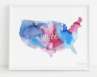 "Watercolor USA map Instant Download | ""Unite"" by Jess Buhman, Print at Home, Digital America Map"