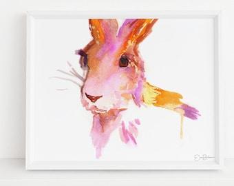 "Rabbit Print Digital Download, ""Rabbit"" by Jess Buhman, Instant Download, Print at Home, Watercolor Animal, Nursery Art"