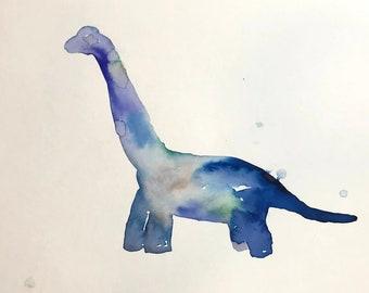 "Original Watercolor Long Neck Dinosaur Painting ""Long Neck"" by Jess Buhman, Watercolor Dinosaur, Dinosaur Art, Kid's Bedroom Decor"