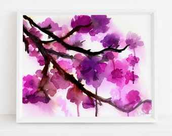 "Floral Watercolor Digital Download  |  ""Cherry Blossoms"" by Jess Buhman, 8 x 10 Instant Download, Art for Her, Gift for Women"