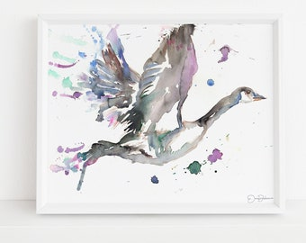 """Watercolor Goose Print  