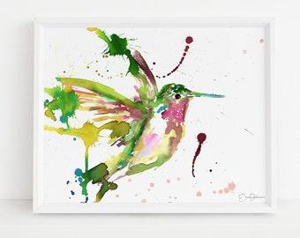 "Hummingbird Watercolor Print  | ""Hum Away With Me"" by Jess Buhman, Multiple Sizes, Select Your Size, Cabin Art, Garden Decor, Bird Art"