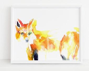 "Fox Print Digital Download, ""Fivel the Fox"" by Jess Buhman, Instant Download, Print at Home, Watercolor Animal, Nursery Art"