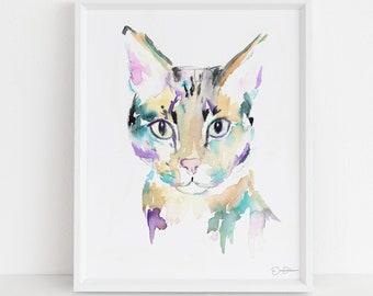 "Cat Watercolor Print Instant Download | ""Savannah Cat"" by Jess Buhman, 8"" x 10"", Print at Home, Digital File, Instant Gift Idea"