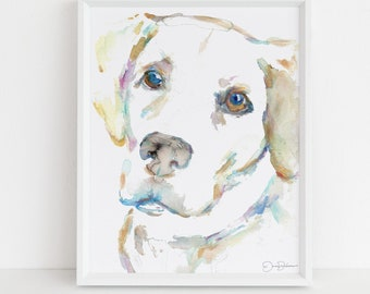 "Labrador Watercolor Print Instant Download | ""Macey the Lab"" by Jess Buhman, 8"" x 10"" Digital File, Print at Home, Dog Lover Gift"