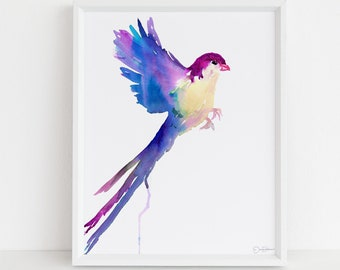 "Watercolor Bird Print |  ""Bonita the Bird"" by Jess Buhman, Select Your Size, Abstract Bird Art, Bird Flying, Colorful Bird Art, Bird Print"