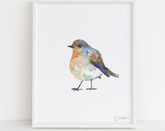 "English Robin Watercolor Print |  ""English Robin"" by Jessica Buhman, Multiple Sizes, Select Your Size, Watercolor Bird, Abstract Bird Art"