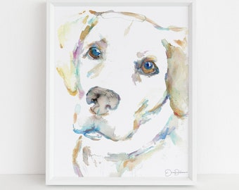 "Watercolor Lab Print | ""Macey"" by Jess Buhman, Print of Labrador Retriever, Lab Dog Painting, Watercolor Dog, Print of Dog, Pet Painting"