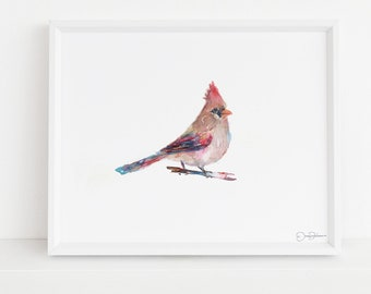 "Cardinal Watercolor Print | ""Darling"" by Jess Buhman, Multiple Sizes, Select Your Size, Wall Art, Bird Painting"