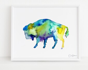 """Buffalo Watercolor Digital Download   """"Buffalo"""" by Jess Buhman, Instant Download, Print at Home, Bull Painting, Southwest Art"""