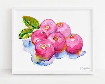 "Cranberries Print Digital Download    ""Cranberries"" by Jess Buhman, Instant Download, Print at Home, Watercolor Fruit Art, Kitchen Decor"