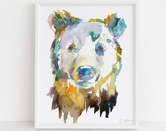 "Bear Watercolor Digital Download Print | ""Bear"" by Jess Buhman, Instant Download, Print at Home, Nursery Decor"