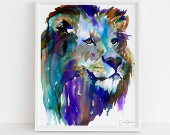 "Lion Watercolor Digital Download Print   ""The King"" by Jess Buhman, Instant Download, Digital File, Nursery Decor"