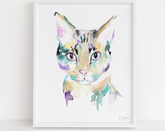 "Savannah Cat Watercolor Print  | ""Savannah"" by Jess Buhman, Multiple Sizes, Select Your Size, Tabby Cat Painting, Nursery Art"