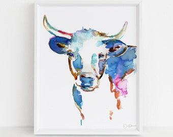 "Longhorn Watercolor Digital Download Print, ""Longhorn"" by Jess Buhman, Instant Download, Print at Home, Nursery Art"