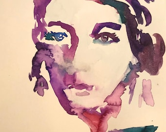 "Watercolor Woman ""She Comes in Colors"" by Jess Buhman, 11"" x 14"" Original Portrait of Woman"