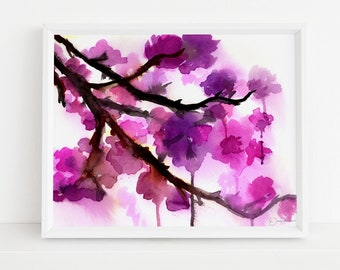 """Cherry Blossoms Watercolor Painting Print, """"Cherry Blossoms"""" by Jess Buhman, Multiple Sizes, Select Your Size, Watercolor Flowers"""