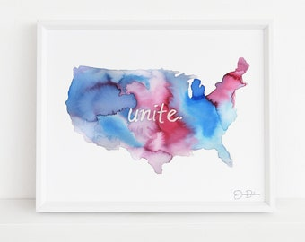 "America Watercolor Print | ""Unite"" by Jess Buhman, Multiple Sizes, Watercolor America, United States Watercolor, Watercolor Map"