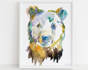 "Bear Watercolor Print | ""Bear"" by Jess Buhman, Choose Your Size, Select Your Size, Animal Painting, Nursery Decor"