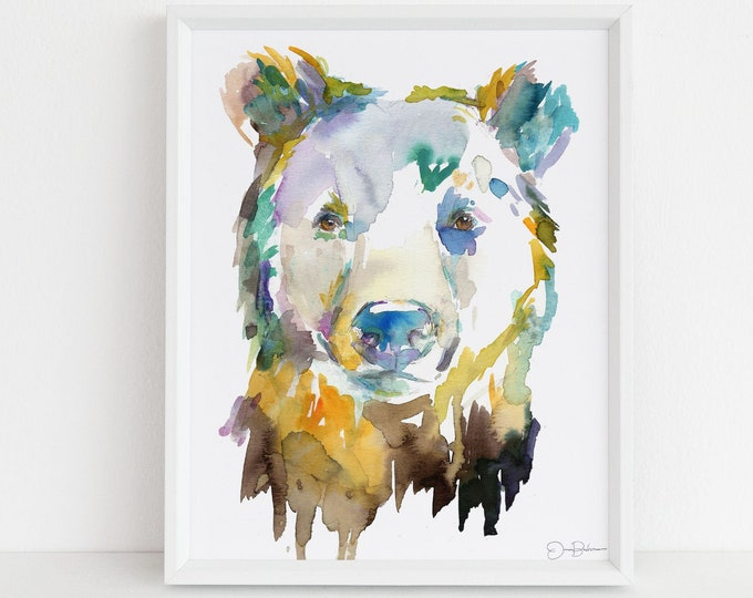 "Featured listing image: Bear Watercolor Print | ""Bear"" by Jess Buhman, Choose Your Size, Select Your Size, Animal Painting, Nursery Decor"