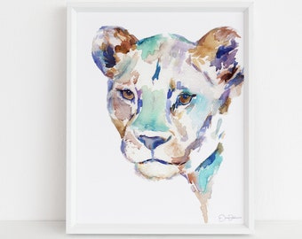 "Lion Watercolor Digital Download Print | ""The Queen"" by Jess Buhman, Instant Download, Digital File, Nursery Decor"