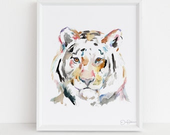 "Tiger Watercolor Print  | ""Tiger"" by Jess Buhman, Multiple Sizes, Select Your Size, Big Cat Painting, Nursery Art"