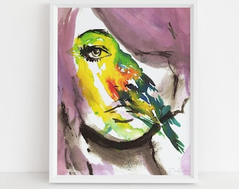 """Watercolor Portrait Print, """"Bird's Eye View"""" by Jess Buhman, 8"""" x 10"""" Print of Woman, Abstract Painting"""