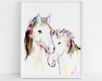 """Horse Watercolor Print  