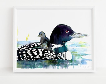"Loon Watercolor Print | ""Loon Love"" by Jess buhman, Print of Loon, MN Watercolor Art, Minnesota Print, Minnesota Art, Cabin Art, Loon Art"