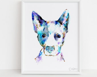 "Blue Heeler Watercolor Print Instant Download | ""Blue"" by Jess Buhman, 8"" x 10"" Digital File, Print at Home, Dog Lover Gift"