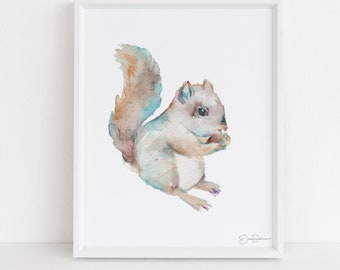 "Squirrel Watercolor Print | ""Squirrel"" by JessBuhman, Multiple Sizes, Select Your Size, Watercolor Animal, Nursery Art, Woodland Art"
