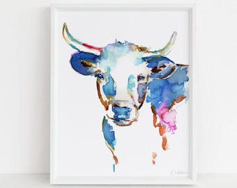 "Cow Painting Print  ""Longhorn"" by Jess Buhman, Multiple Sizes, Select Your Size, Longhorn Painting, Watercolor Cow"