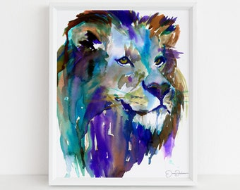 "Lion Watercolor Print | ""The King"" by Jess Buhman, Multiple Sizes, Wall Art, Nursery Painting, Home Decor, Choose Your Size"