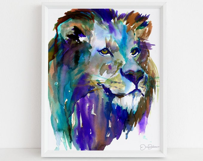 "Featured listing image: Lion Watercolor Print | ""The King"" by Jess Buhman, Multiple Sizes, Wall Art, Nursery Painting, Home Decor, Choose Your Size"