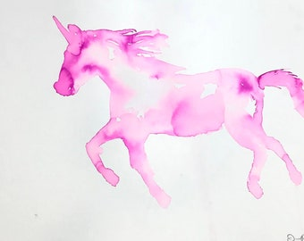 "Watercolor Unicorn Original Painting, ""On the Run"" by Jess Buhman, Unicorn Painting, Pink Unicorn Art, Girl Bedroom Decor"
