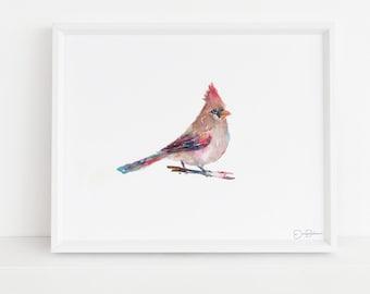 "Cardinal Watercolor Digital Download | ""Darling"" by Jess Buhman, Instant Download, Digital File, Print at Home, Bird Painting"
