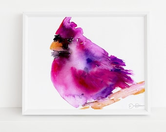 "Cardinal Watercolor Digital Download | ""Corduroy the Cardinal"" by Jess Buhman, Instant Download, Digital File, Print at Home, Bird Painting"