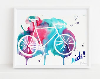 """Bicycle Watercolor Print 
