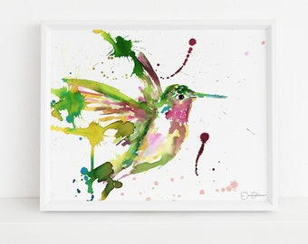 "Hummingbird Print | ""Hum Away With Me"" by Jess Buhman, Digital Download, Print Yourself, Bird Painting, Wall Art, Home Decor"