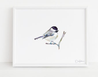 "Chickadee Watercolor Print | ""Emmylou"" by Jess Buhman, Multiple Sizes, Choose Your Size, Bird Painting, Watercolor Bird Art, Chickadee Print"