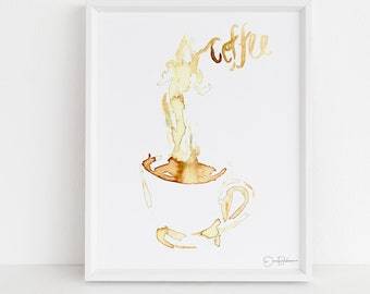 """Coffee Print Digital Download    """"Coffee"""" by Jess Buhman, Instant Download, Print at Home, Watercolor Coffee Art, Coffee Lover Gift"""