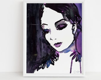 "Portrait of Woman Watercolor Print  | ""Tranquility"" by Jessica Buhman, Print of Woman, Painting of Woman, Watercolor Woman"